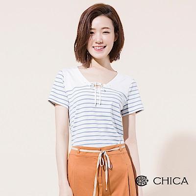 CHICA 野餐風尚穿孔綁帶條紋上衣(2色)