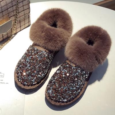 KEITH-WILL時尚鞋館-搶購幾何圖文超輕絨面雪靴-卡其色