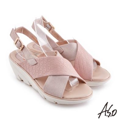 A.S.O 機能休閒 厚底美學交叉條帶休閒底台涼鞋-粉紅