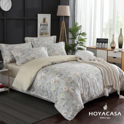 HOYACASA花詩悠然 加大四件式300織抗菌精梳長絨棉兩用被床包組