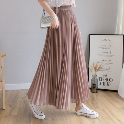 La Belleza素面鬆緊腰高腰垂墬感壓摺雪紡闊腿褲裙