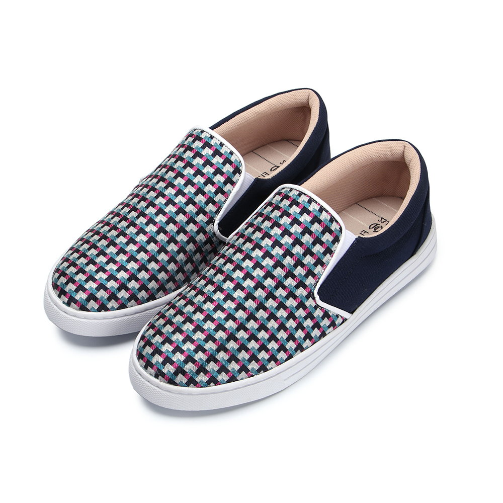 BuyGlasses 無限格紋女款懶人鞋-深藍