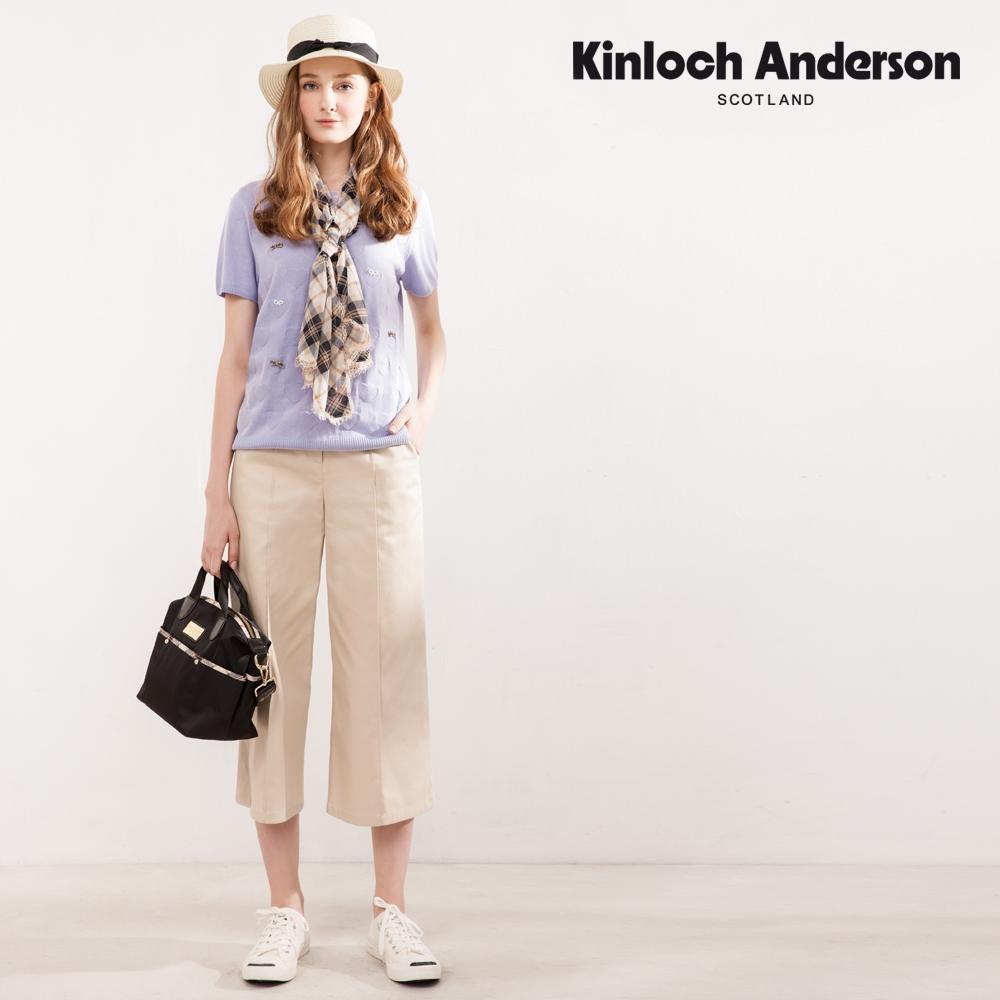 【Kinloch Anderson金安德森】知性格紋織帶蝴蝶結寬褲(七分褲--棉質-卡其淺咖奶茶)