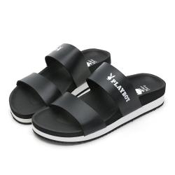 PLAYBOY 簡約素色一字帶涼拖鞋-黑-Y6296CC