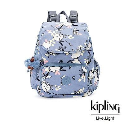 Kipling 粉紫藍柔雅花卉拉鍊掀蓋後背包-CITY PACK S