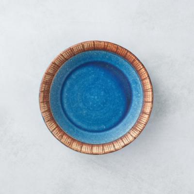 有種創意 日本美濃燒 - 細雕紋小盤 - 琉璃藍 16.5cm