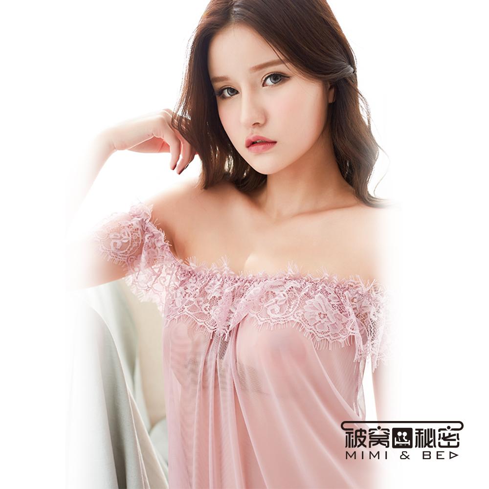 性感睡衣 蓬蓬蕾絲花一字領性感柔紗睡衣。粉色 被窩的秘密