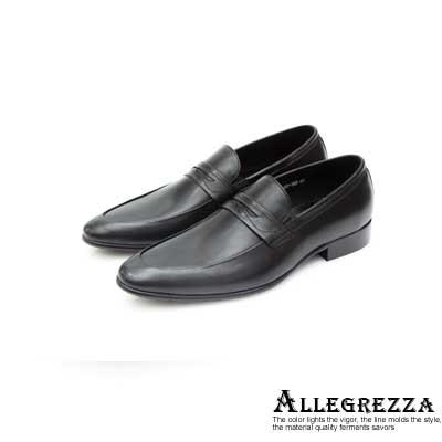 ALLEGREZZA真皮男鞋-優雅設計-牛皮樂福鞋 黑色