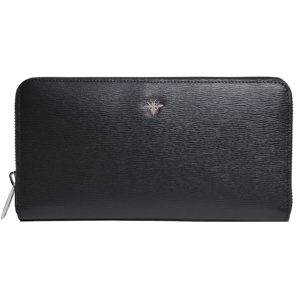 Dior Homme 蜜蜂金屬綴飾小牛皮拉鍊長夾(黑)