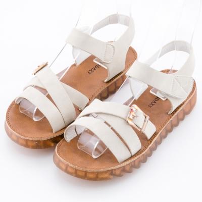 River&Moon 渡假風情 交叉寬帶扣環水晶軟底羅馬涼鞋 米白