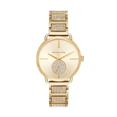 MICHAEL KORS美式優雅小秒針晶鑽腕錶MK3852