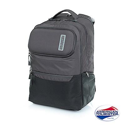 AT美國旅行者 Vibe+上鎖式收納筆電後背包(灰/黑)