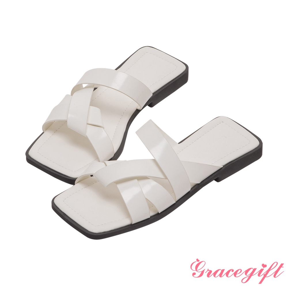 Grace gift-寬帶編織平底涼拖鞋 米白