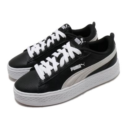 Puma 休閒鞋 Smash Platform 運動 女鞋 基本款 簡約 舒適 厚底 皮革 穿搭 黑 白 36648711