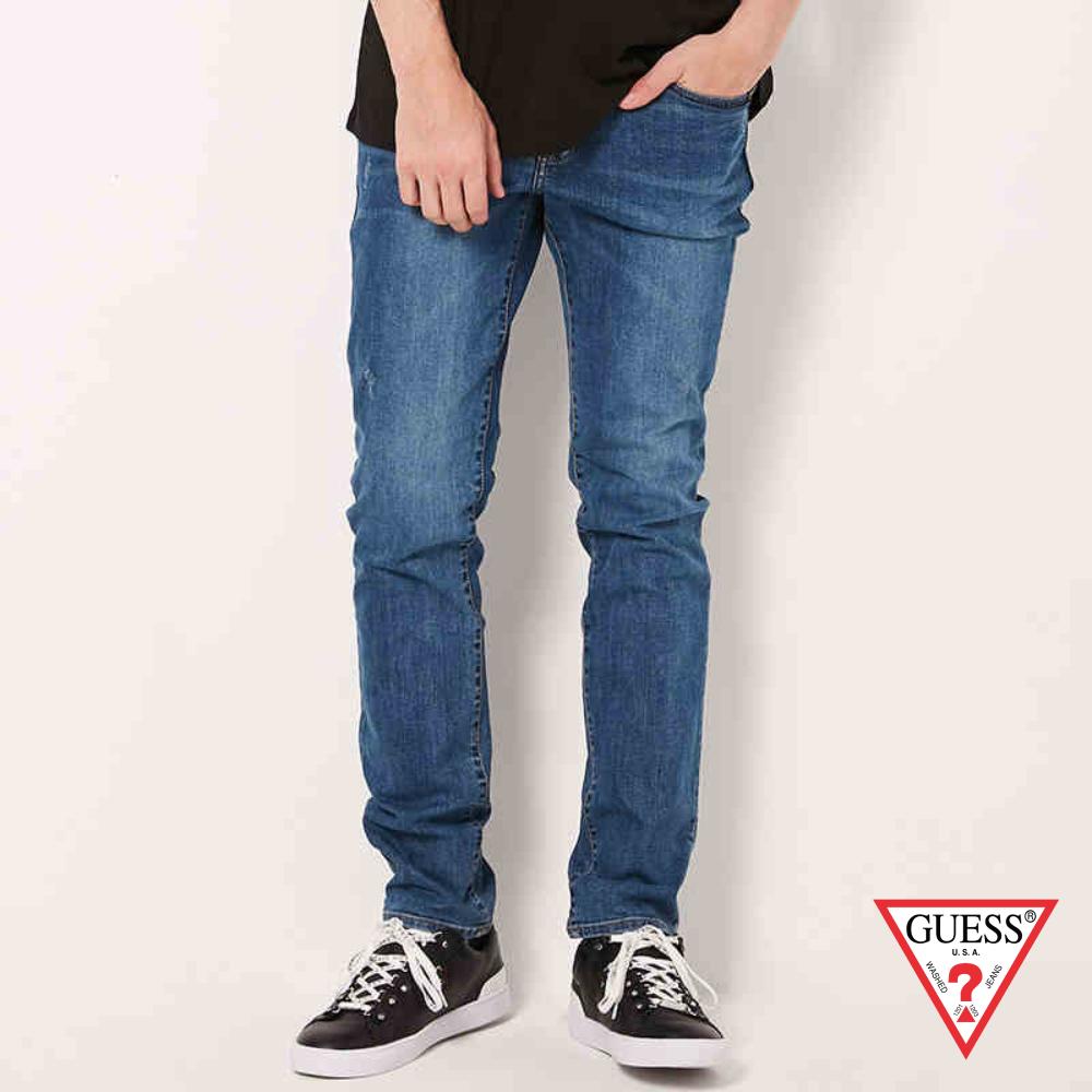 GUESS-男裝-刷舊個性直筒牛仔褲-深藍 原價4990