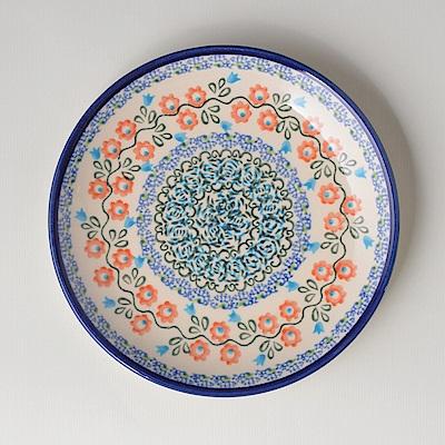 波蘭陶手工製 紅花綠蔓 淺底圓形餐盤19cm