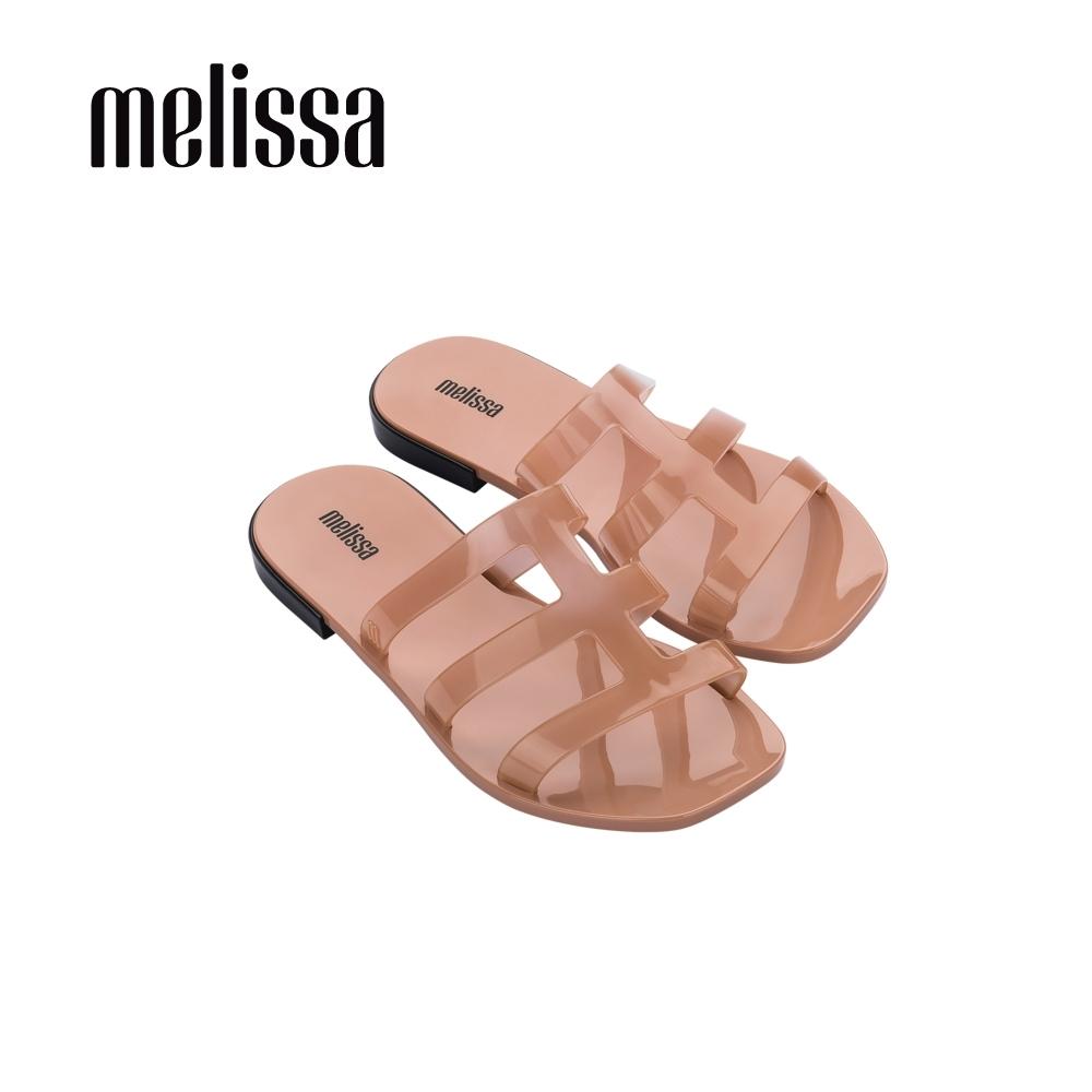 Melissa CARIBE線條方頭涼拖鞋-裸粉