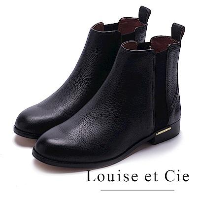 Louise et Cie-真皮異材質拼接個性中筒靴-黑色