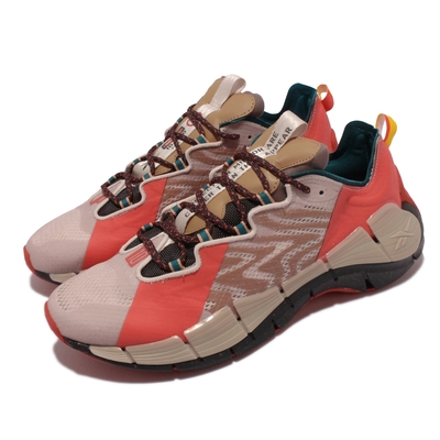 Reebok 慢跑鞋 Zig Devil Kinetica 男鞋 Jurassic Park 侏儸紀公園 奶茶紅色 GY8275