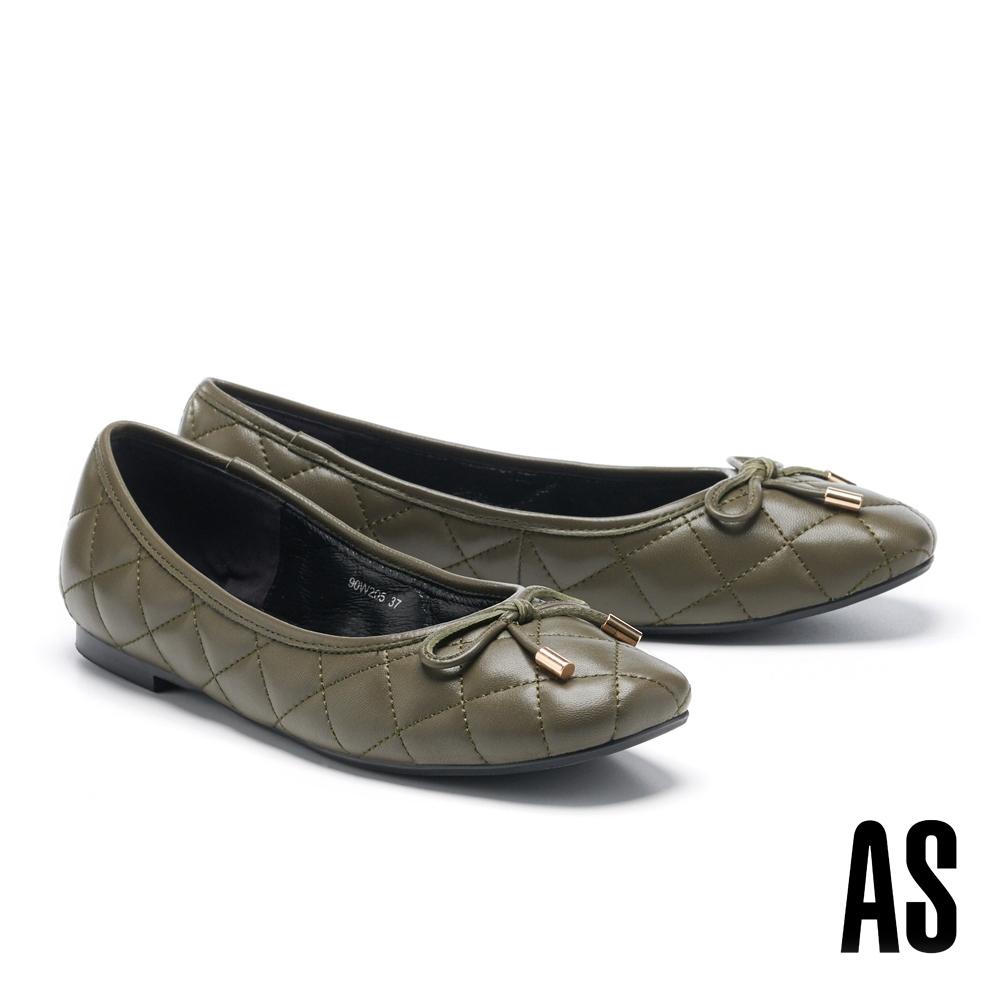 平底鞋 AS 典雅蝴蝶結菱格車線全真皮方頭平底鞋-綠