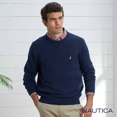 Nautica 男裝 經典素面長袖針織衫-深藍
