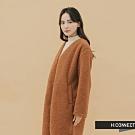H:CONNECT 韓國品牌 女裝-毛呢造型長版外套-棕