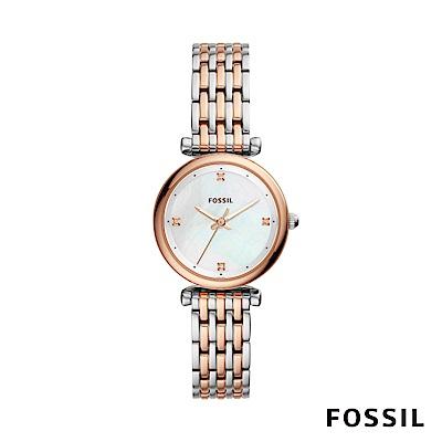 FOSSIL CARLIE MINI 迷你奢華女性鍊錶-銀/玫瑰金 約28mm ES4431