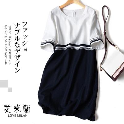 艾米蘭-韓版氣質圓領拼接配色造型洋裝-白拼接(M-XL)