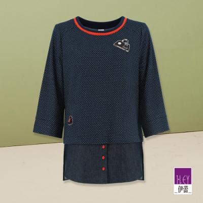 ILEY伊蕾 貼布燙鑽圓點拼接造型上衣(藍)