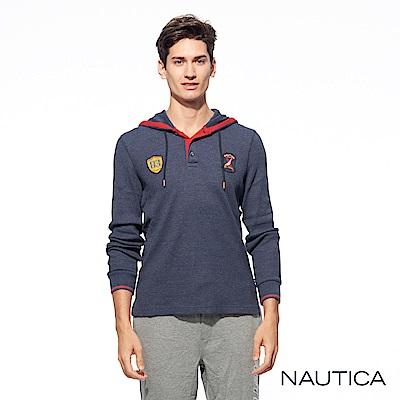 Nautica修身連帽針織衫-深藍