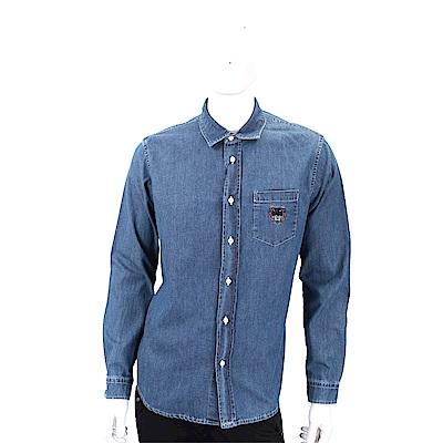 KENZO Tiger 虎頭刺繡藍色丹寧襯衫(男款)