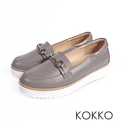 KOKKO -舒適體驗鎖鍊厚底真皮休閒鞋 - 靜謐灰