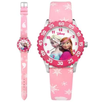 Disney 迪士尼 米奇系列 冰雪奇緣 Elsa Anna 卡通皮革手錶-白粉/31mm
