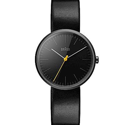 BRAUN德國百靈 經典質感 真皮錶帶 簡約設計款 –黑色/38mm