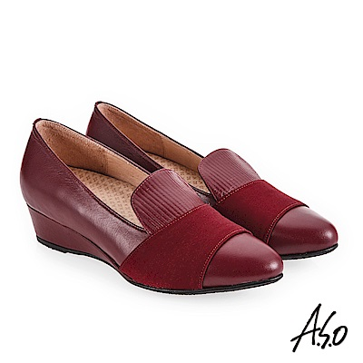 A.S.O 美型對策 彈性布拼接楔型低跟鞋 寶石紅