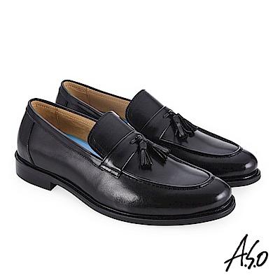 A.S.O 菁英通勤 流蘇裝飾時尚混搭真皮鞋 黑
