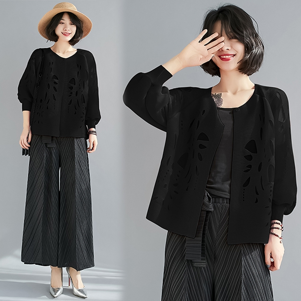 【KEITH-WILL】(預購)歡樂單品時髦休閒洞洞壓褶外套(共2色) (黑色)