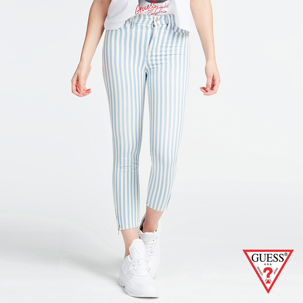 GUESS x J.Lo聯名款 女裝-條紋修身窄管長褲-藍