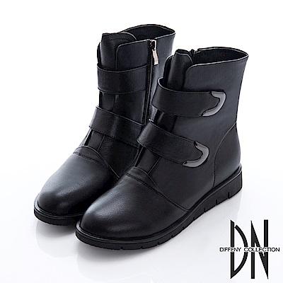 DN 英倫風格 拼接牛皮造型拉鍊中筒靴-黑