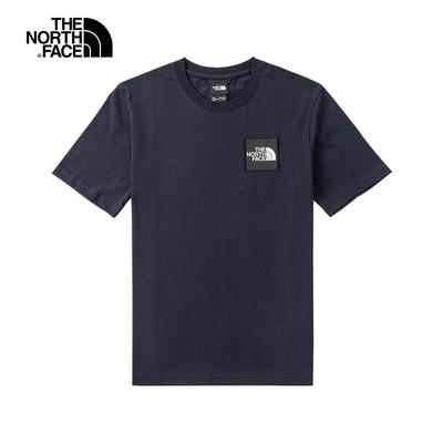 The North Face北面UE男款深藍色吸濕排汗品牌布標圓領短袖T恤 5AXHRG1