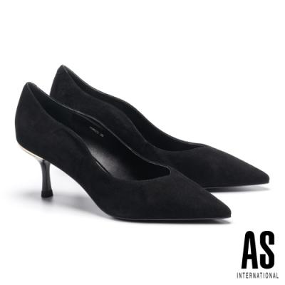 高跟鞋 AS 簡約率性流線剪裁全真皮尖頭高跟鞋-黑