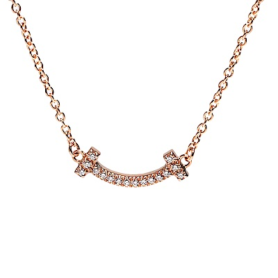 TIFFANY&Co.T Smile 18K玫瑰金鑽石鑲嵌微笑墜飾項鍊