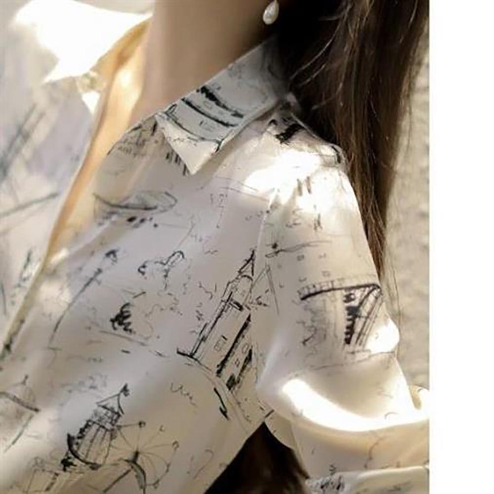 JILLI-KO 歐風素描印花絲質襯衫- 白色 (白色系)
