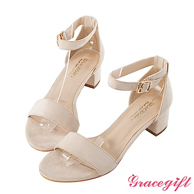 Grace gift-絨布一字中跟涼鞋 米白