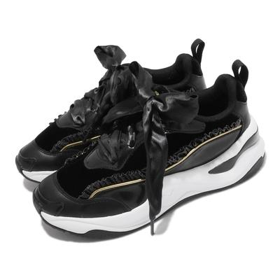 Puma 休閒鞋 Rise Nu Charlotte 聯名女鞋 海外限定 大蝴蝶結 緞帶 蔡依林代言 黑 白 374338-01