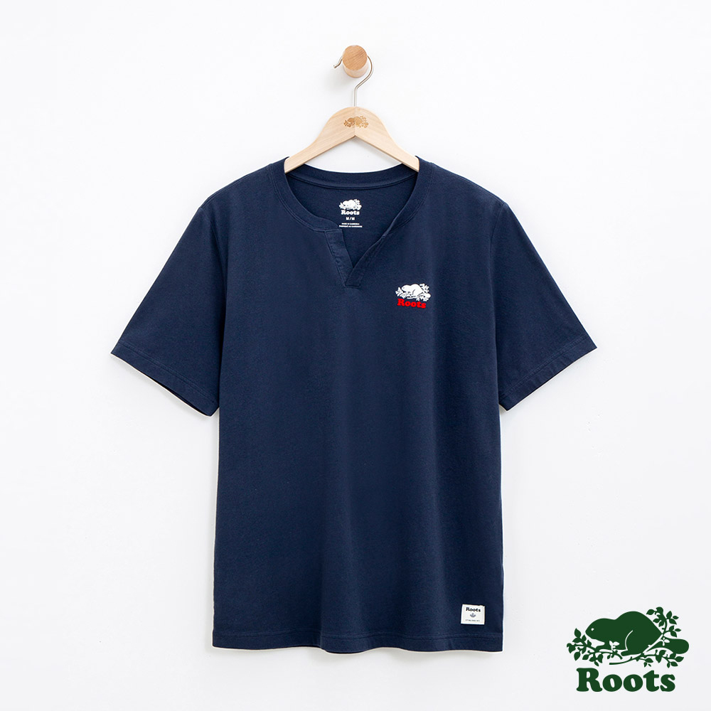 男裝Roots 開襟短袖T恤-藍