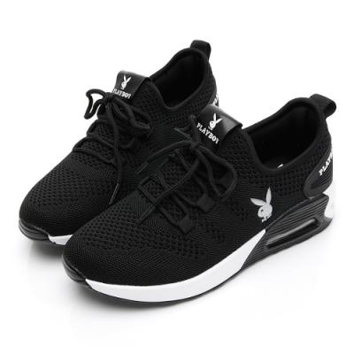 PLAYBOY 舒適針織氣墊綁帶休閒鞋-黑白-Y5733C1