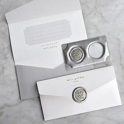 PLEPIC 好經典皮革蠟封章萬用信封袋組-奢華銀
