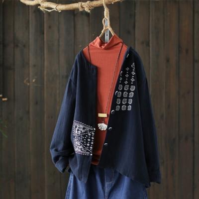 重工刺繡肌理棉長袖外套寬鬆上衣開衫-設計所在