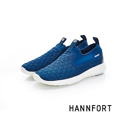 HANNFORT ICE彈性壓紋運動休閒鞋-女-俐落藍